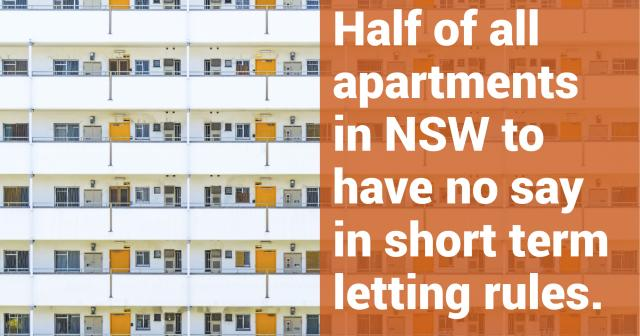 "Picture reads ""Half of all apartments in NSW to have no say in short term letting rules"""