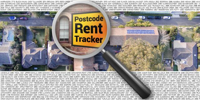 "Magnifiying glass over text reading ""Postcode Rent Tracker"". Aerial view of housing. Top and bottom border is small text with random postcode and suburb names"