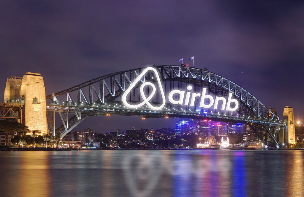 Airbnb logo on the Sydney Harbour Bridge