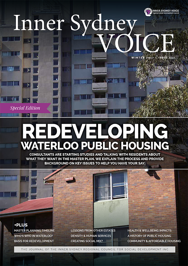 "Cover of the Inner Sydney Voice. Title reads ""Redeveloping Waterloo Public Housing"""