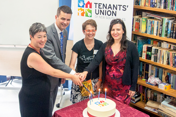 Jenny Leong MP, Shayne Mallard MLC, Julie Foreman TU Executive Officer, and Tania Mihailuk MP, cutting the cake at the launch of the TU 40th celebrations