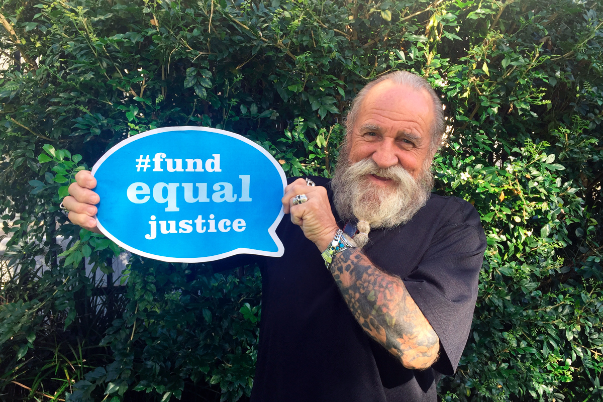 Raymond Morris expressing support for the #fundequaljustice Community Legal Centre campaign