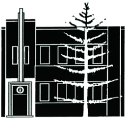 Manly Community Centre logo, with building and tree