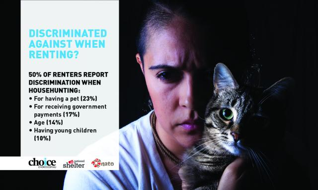 "Woman holding cat. List of statistics concerning text which reads ""Discriminated against when renting? 50% of renters report discrimination when househunting. For having a pet (23%). For receiving government payments (17%). Age (14%). Having young children (10%)"
