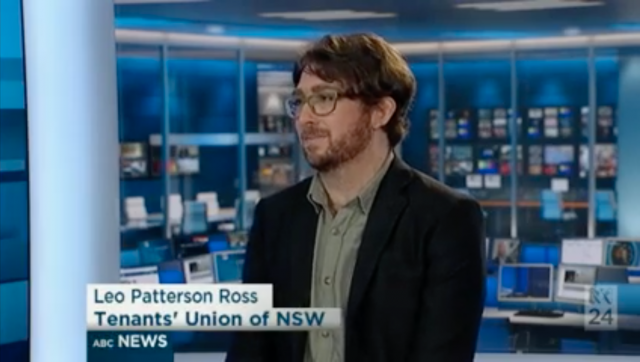 Leo from the Tenants' Union of NSW speak on ABC News 24