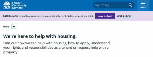 Screen shot of Family and Community Services site. Main text reads: We're here to help with housing. Find out how we can help with housing, how to apply, understand your rights and responsibilities as a tenant or request help with a property