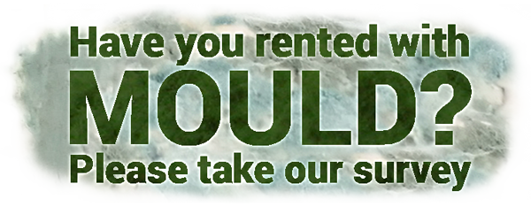 Stylised text reads: Have you rented with mould? please take our survey
