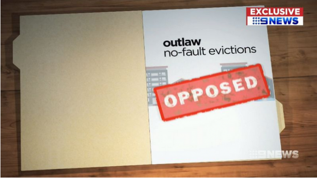 "Nine news CGI of a manila folder and paper reading ""outlaw no-fault evictions. opposed"""
