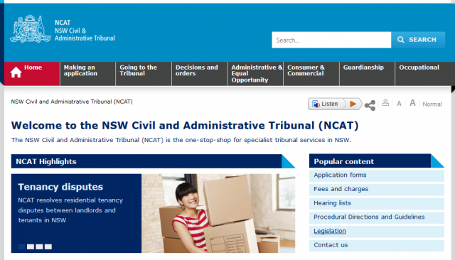 Screenshot of the NCAT front page