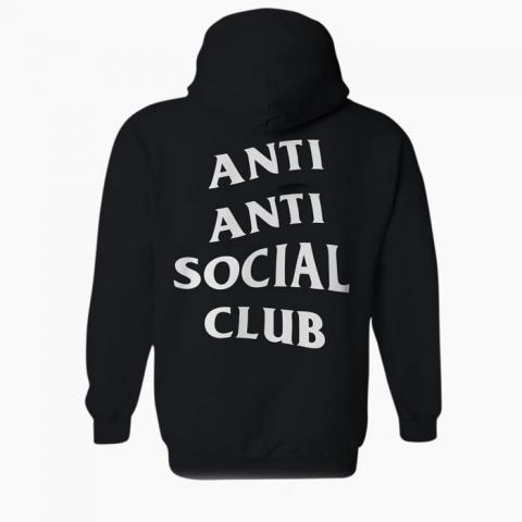 hoodie reading 'anti anti social club'