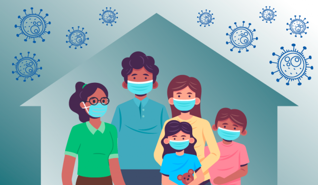 Graphic of a family in a house, wearing masks, virus outside