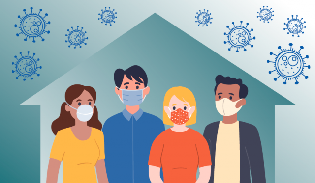 Graphic of people in a house, wearing masks, virus outside