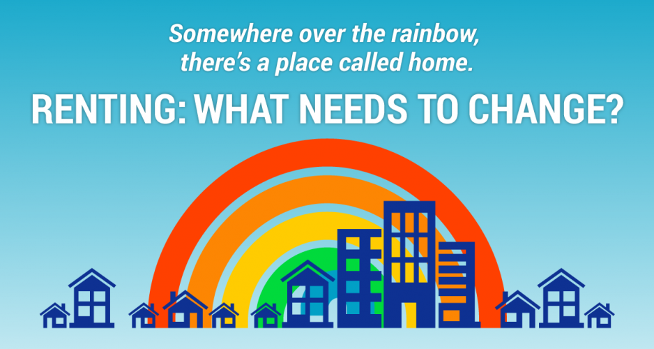 Rainbow and houses graphic. Text reads: somewhere over the rainbow, there's a place called home.