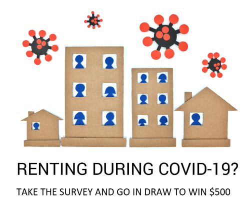 Take the survey, image of cut out houses with cut out people in relief surrounded by COVID19 virus