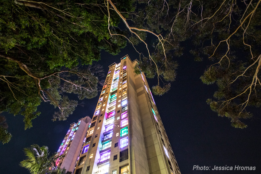 Redfern Waterloo towers lit with coloured lights