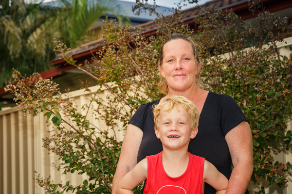 Kellie and her son Elijah, tenants on the Central Coast