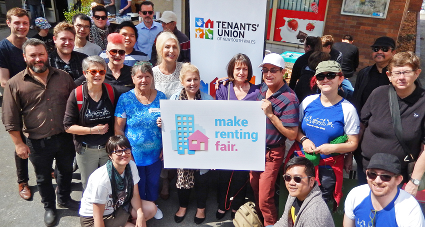 Make Renting Fair campaigners and supporters in Redfern