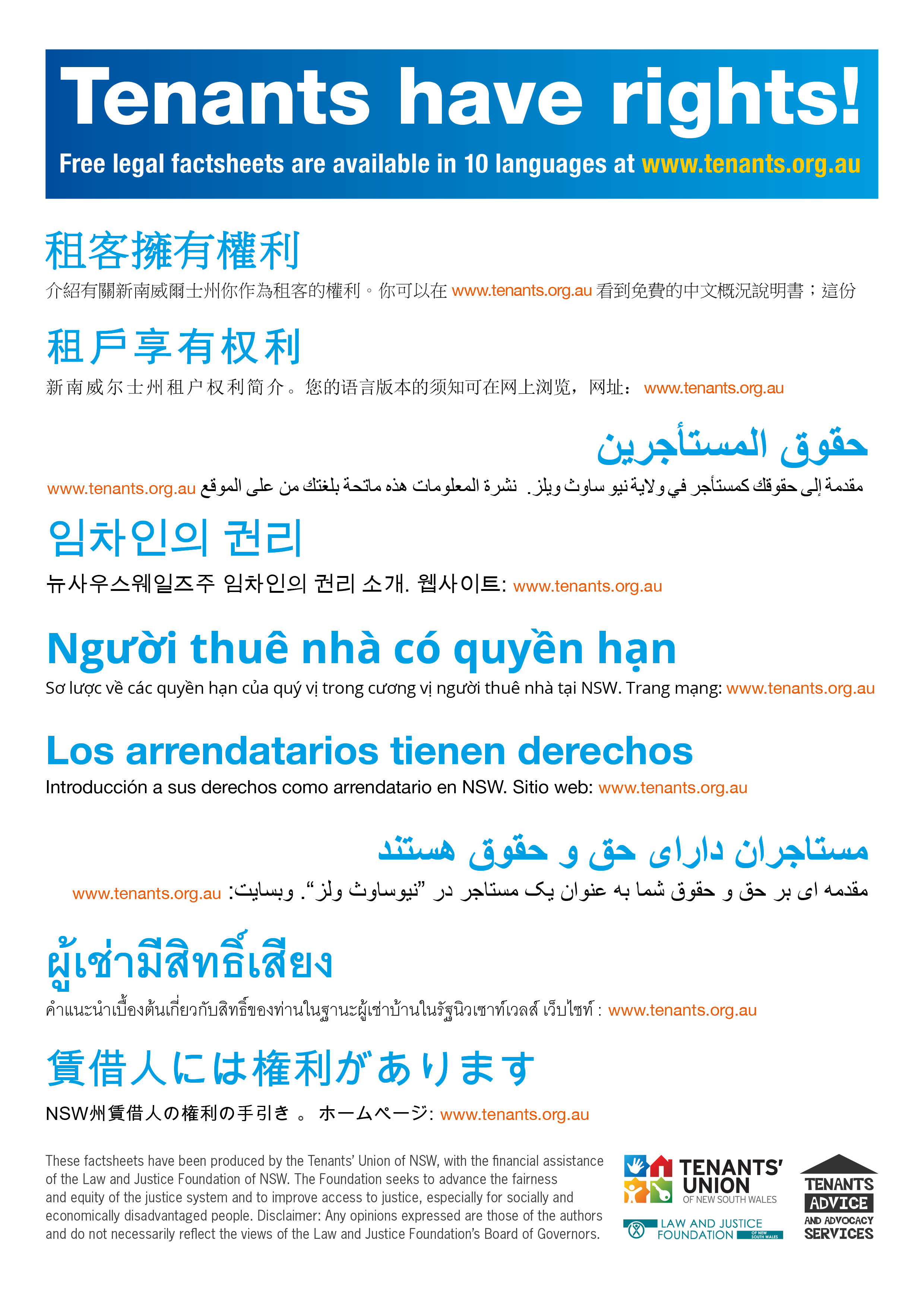 Tenants' have rights! Community languages poster