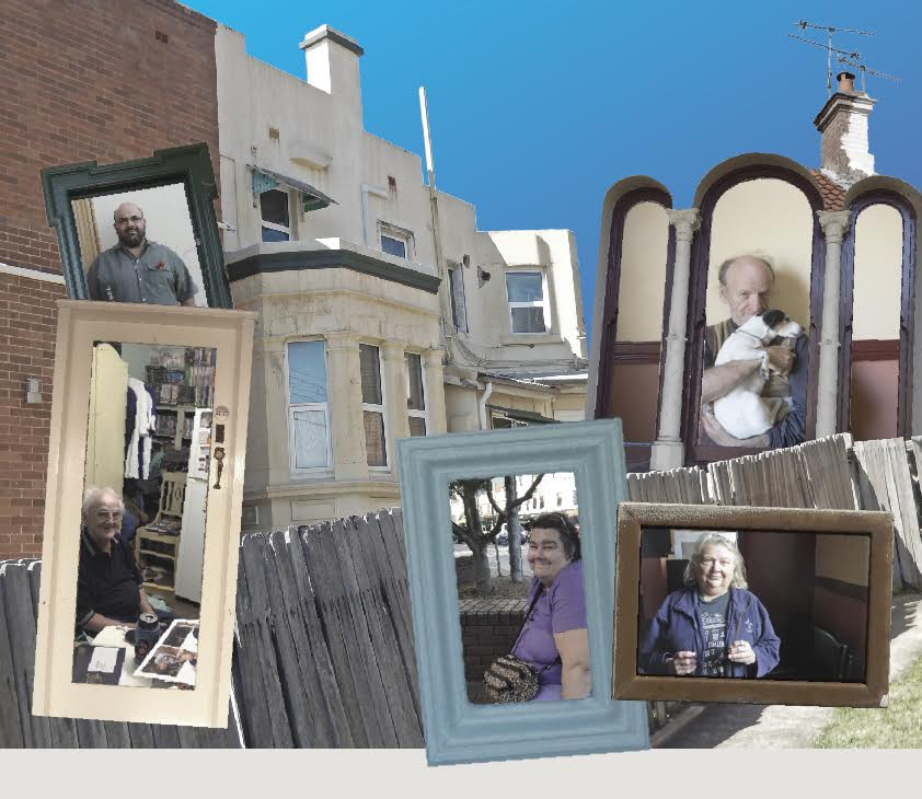 montage of boarding house residents and boarding houses